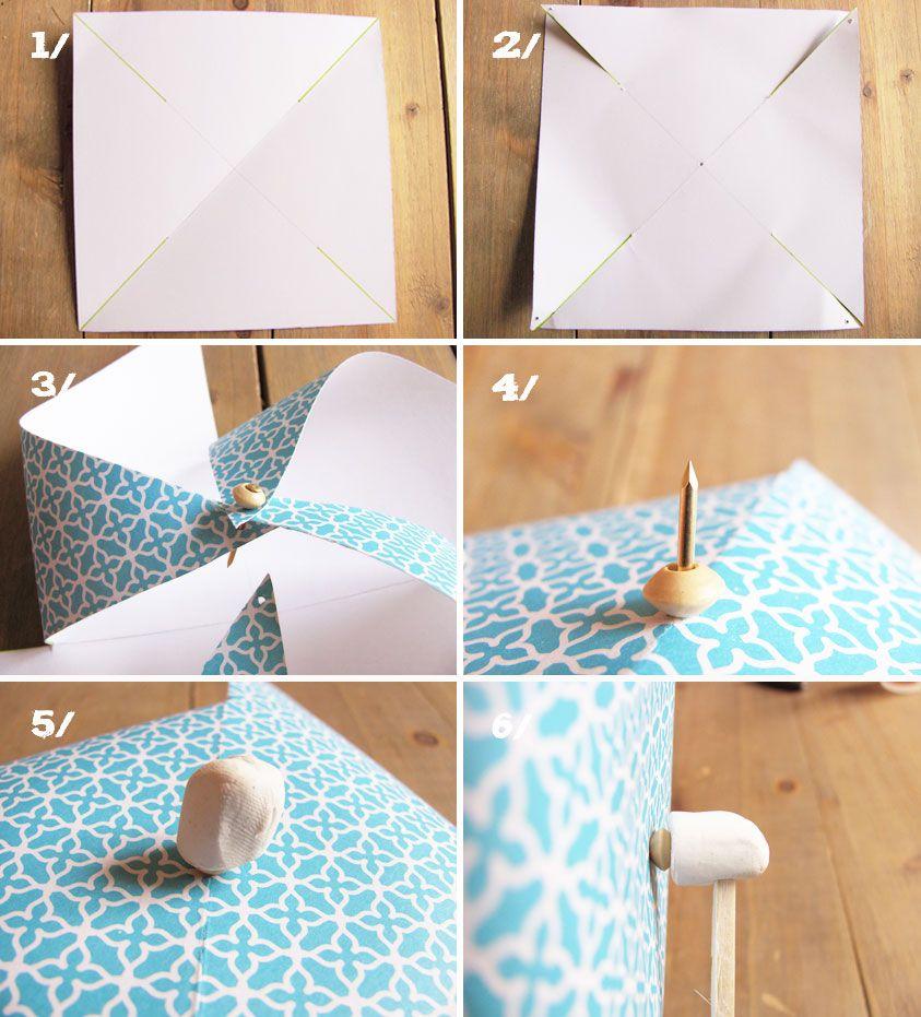 comment fabriquer un moulin vent paper pinwheels diy pinwheel origami et diy. Black Bedroom Furniture Sets. Home Design Ideas