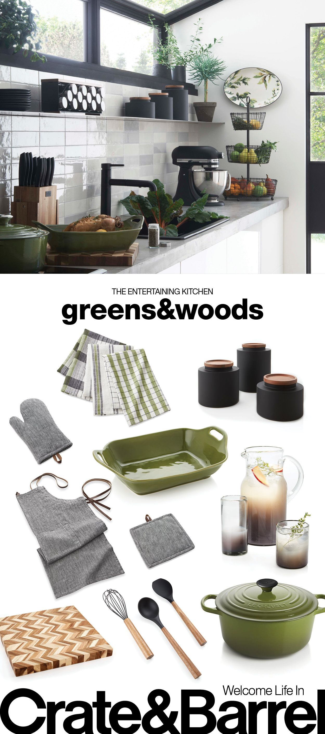 Super natural: leafy green paired with warm wood.   Kitchen and ...