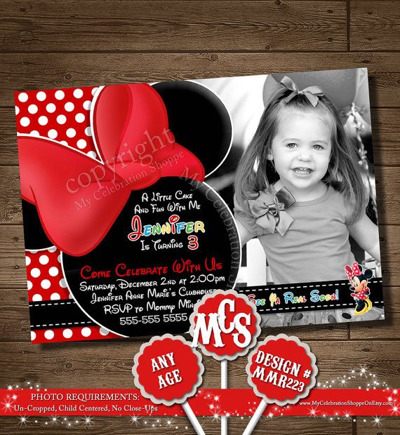 CUSTOM INVITATION, CLUBHOUSE, Chevron, Yellow, Minnie Mouse Birthday, Minnie Mouse, My Celebration Shoppe, Minnie Mouse, Invitation, Photo on Etsy, $15.00
