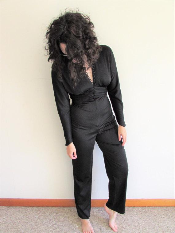 17832f4d130 Vintage Black Jumpsuit Polyester Jumpsuit Disco Jumpsuit Black Catsuit Jumpsuit  1970s Jumpsuit