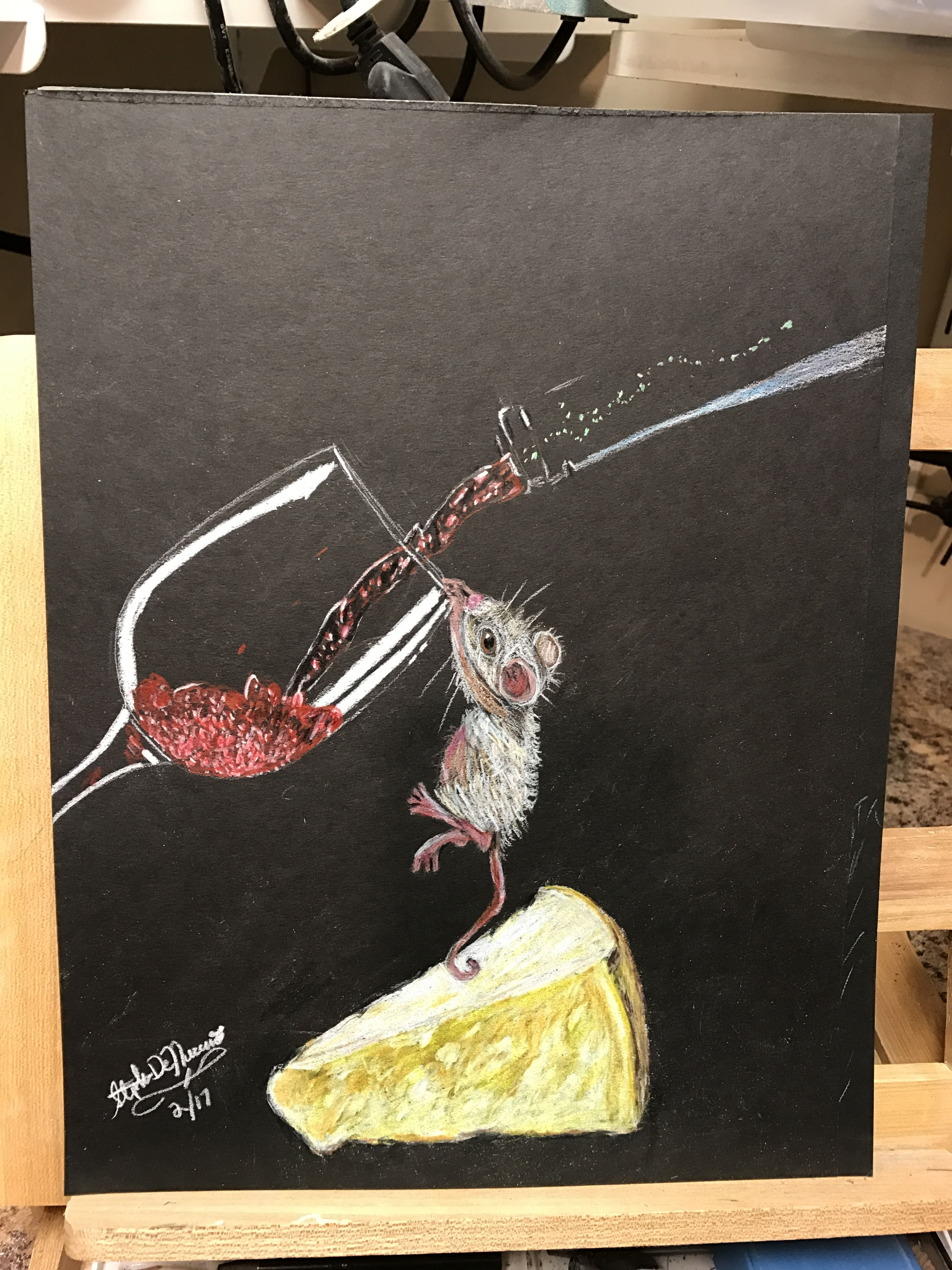 Was Hired To Draw Something For A Wine Cheese Event So I Came Up