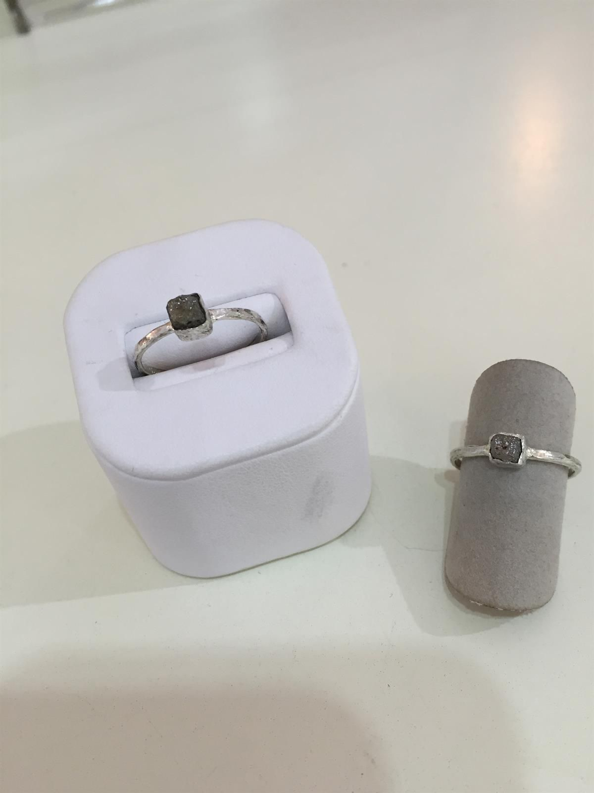 Introducing Pebbles by Gemstone Creations! Handcrafted sterling silver rings with natural rough diamonds.