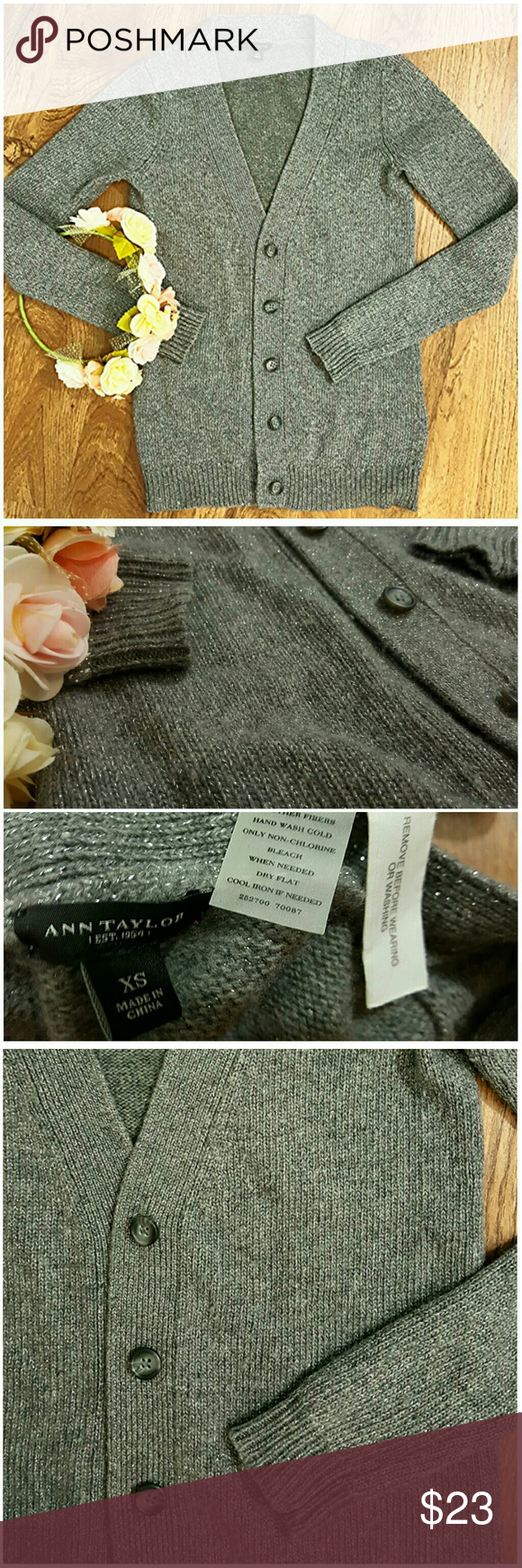 Ann Taylor classic wool cardigan XS  Dark gray. Foil/metallic in fabric gives glittery appearance! Good condition!  Classic cardi! Made with wool, nylon and other fibers  Versatile and easy to match. Great for layering. Ann Taylor Sweaters Cardigans