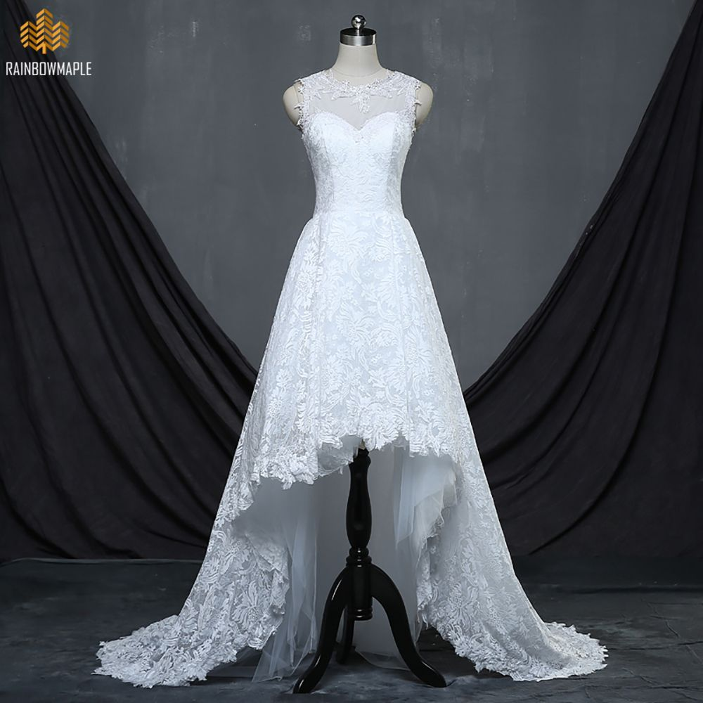 Click to buy ucuc real photos high low appliques lace wedding dresses