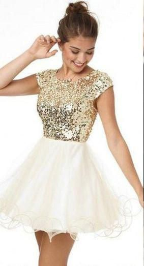 Brightly Shining Gold Sequins Cap Sleeves Lace Homecoming Dresses ...