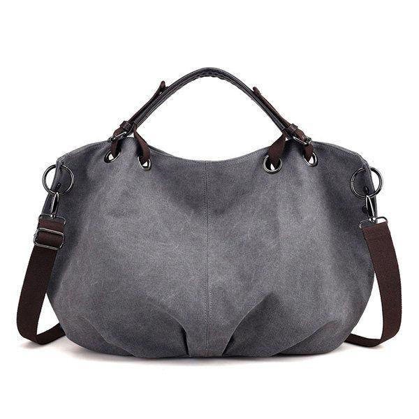 db42fbb13bc6 Women Canvas Retro Large Capacity Handbag Solid Portable Crossbody ...