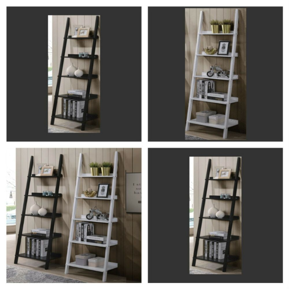 Leaning Bookcase Shelf Ladder With 5 Shelves Wooden Display Storage Organizer Unbranded Ladder With Images Bookcase Shelves Display Storage Shelves