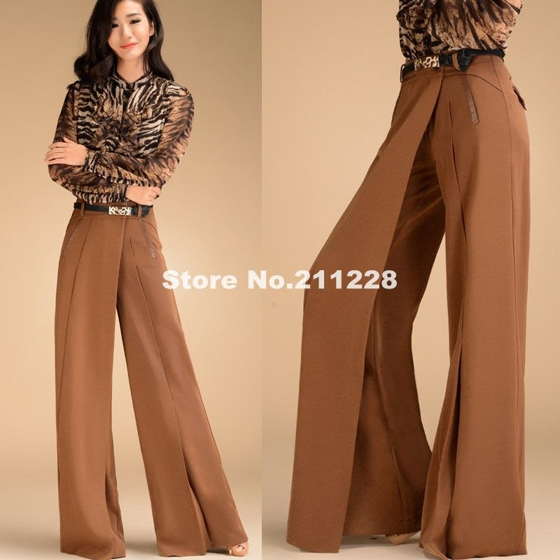 wide leg jeans for women | ... Womens-High-Waist-Camel-Trousers ...