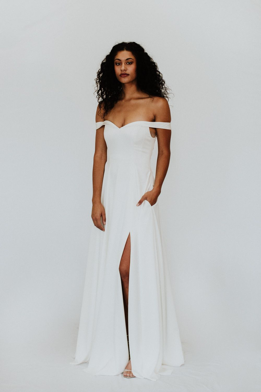 Modern Off Shoulder Wedding Dress Handcrafted In Milwaukee