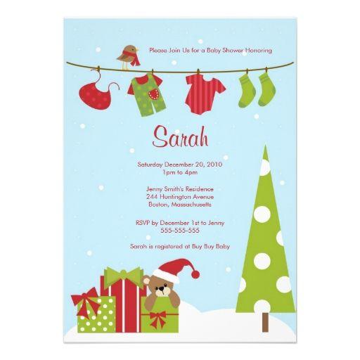 Christmas Clothesline Baby Boy Shower Invite