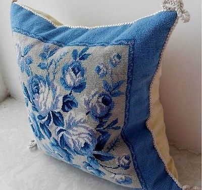 Handmake-vintage-woolen-needlepoint-canvas-pillow-cover-Victoria-style-Blue-rose
