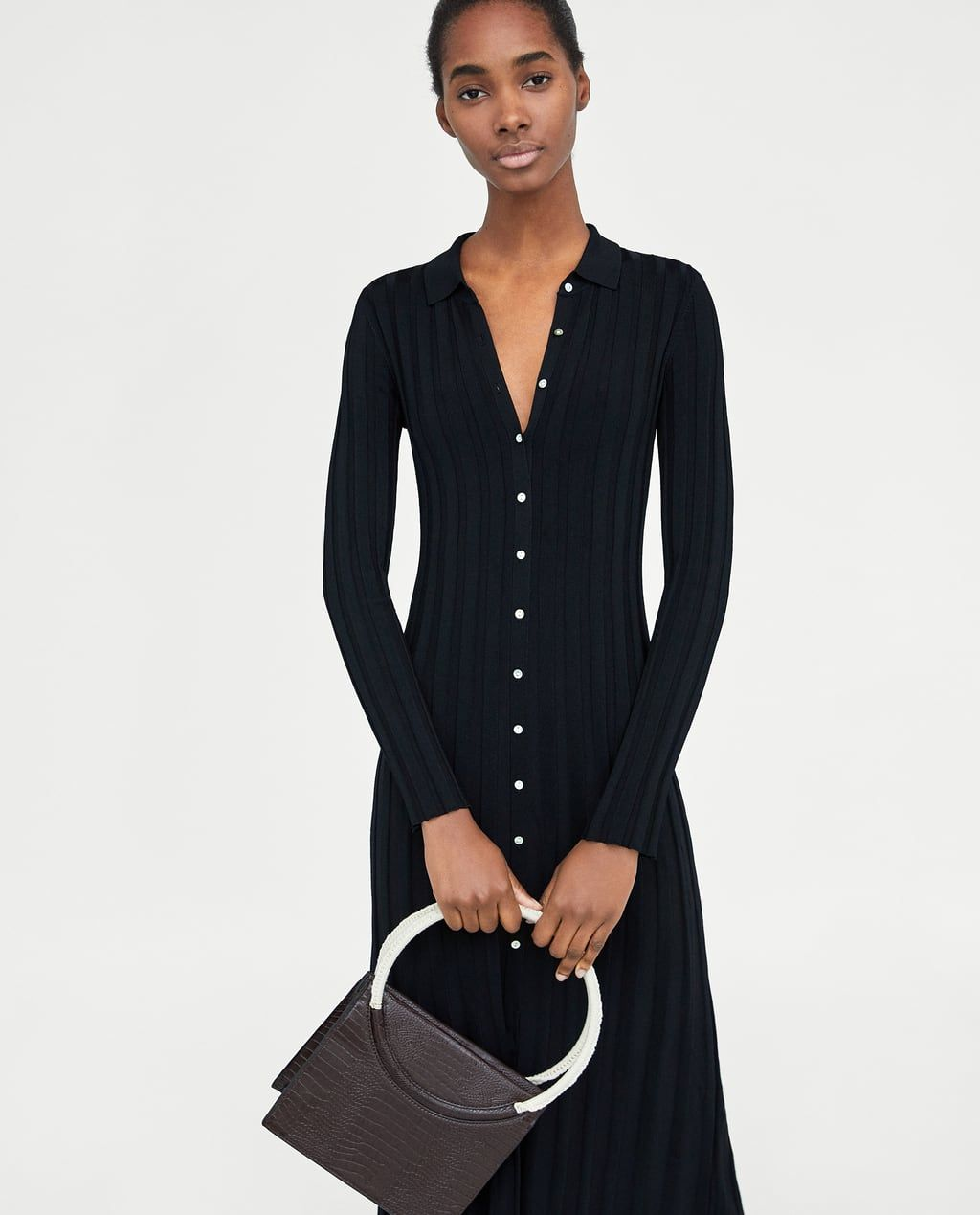 7571c564 RIBBED DRESS WITH POLO COLLAR-Knit-DRESSES-WOMAN | ZARA United States