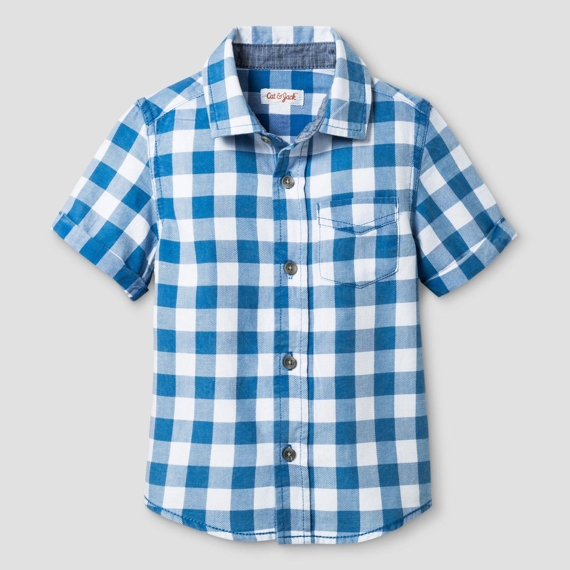 c5a35390 Toddler Boys' Checks Short Sleeve Woven Shirt Cat & Jack Blue 4T ...