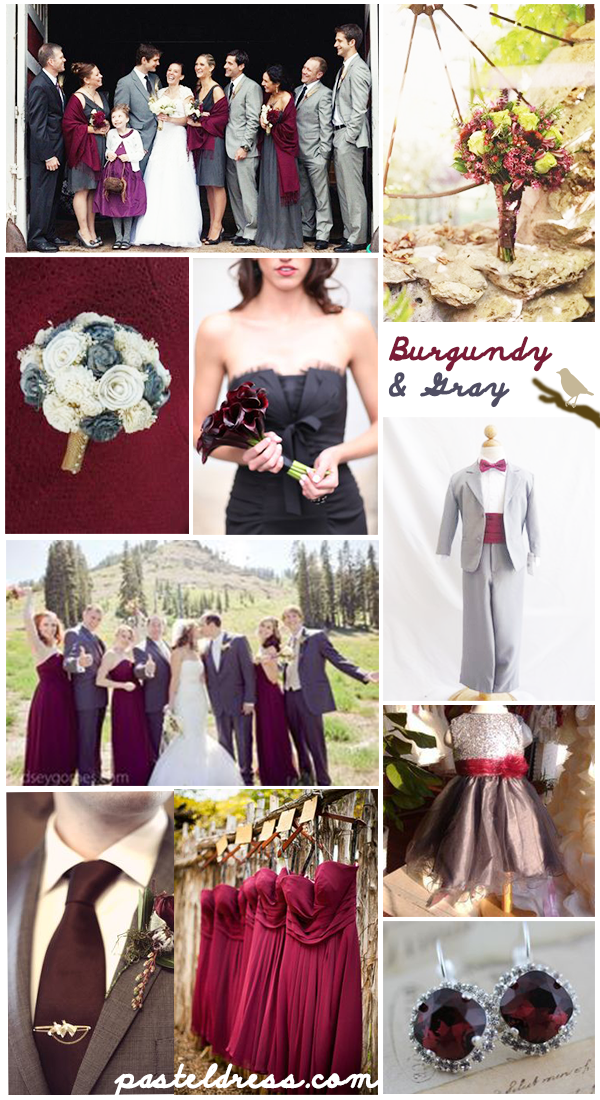 Fall Wedding Color Inspiration Burgundy Gray Grey