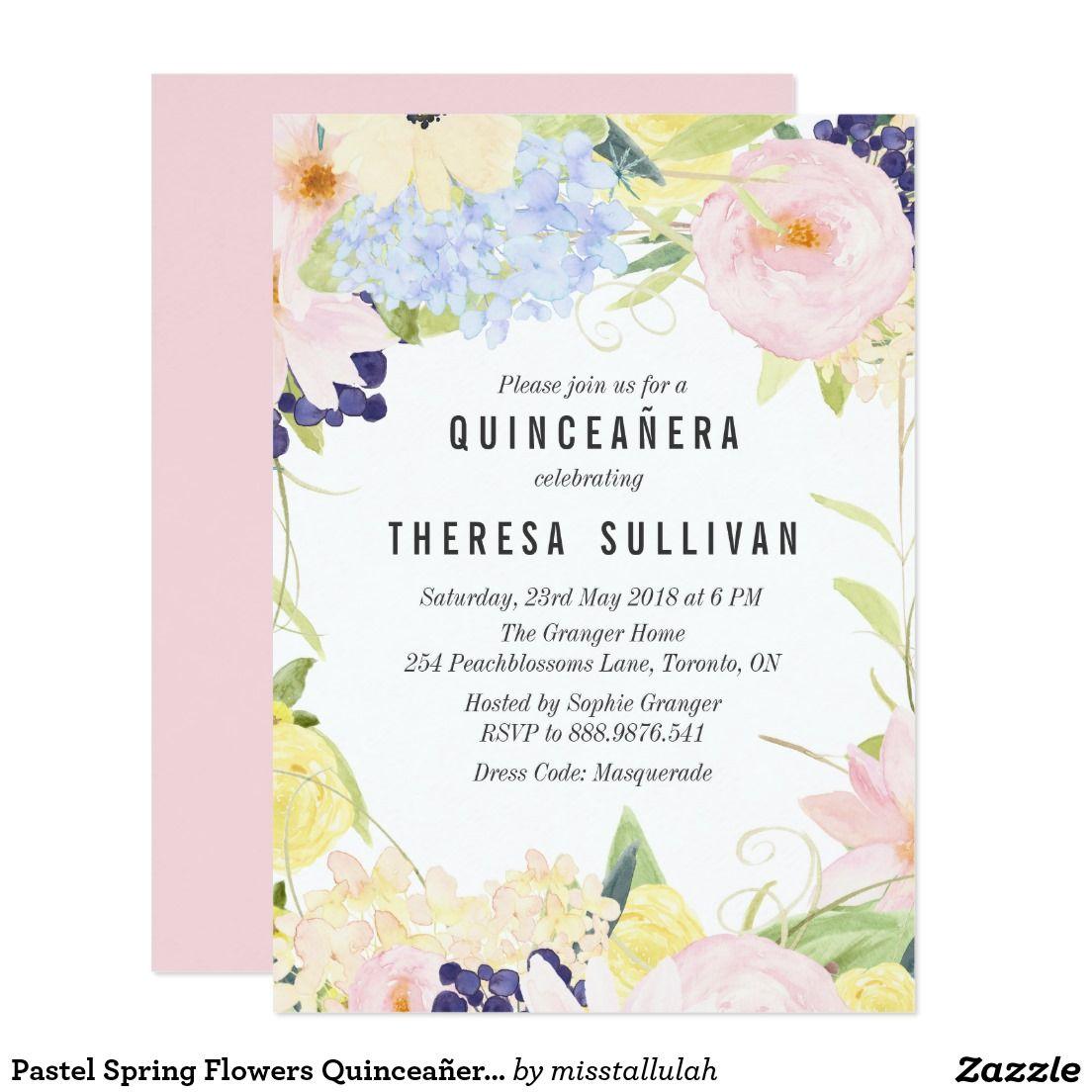 Pastel Spring Flowers Quinceaa Era Invitation Zazzle Invitations