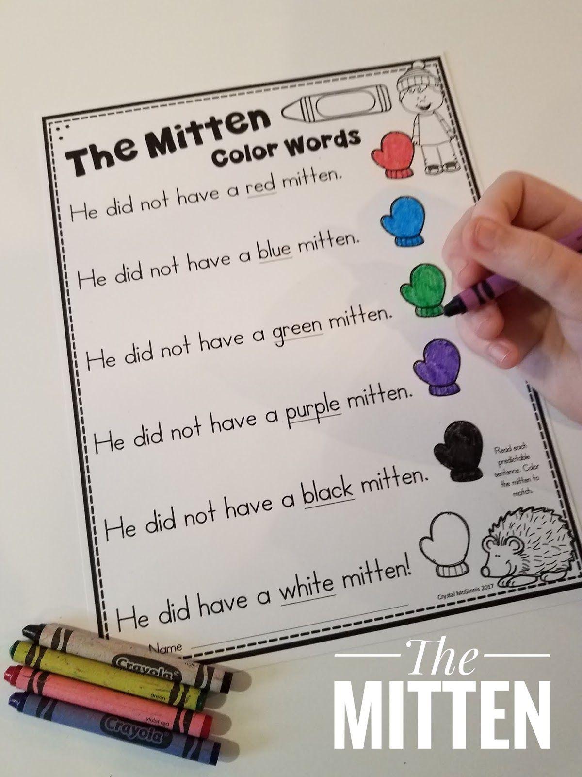 Literacy And Math Center For The Mitten Themitten Janbrett Literacycenters Mathcenters