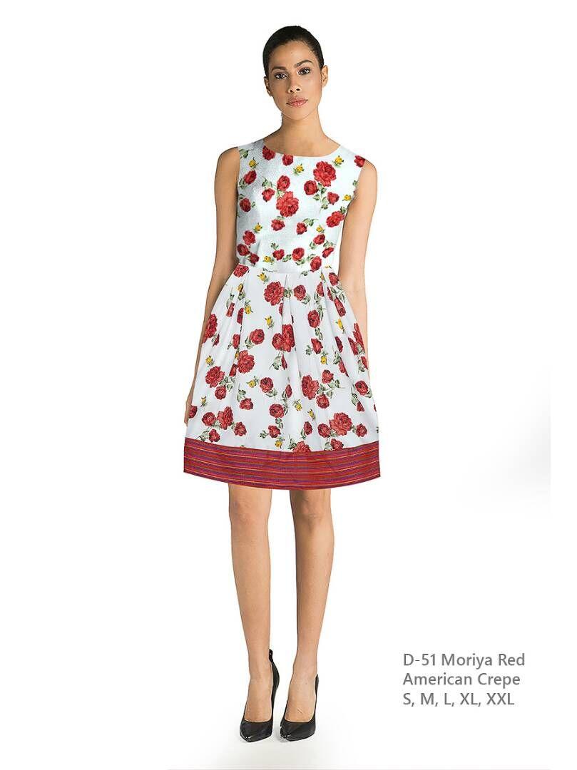 American crepe women moriya red dress top summer fashion look