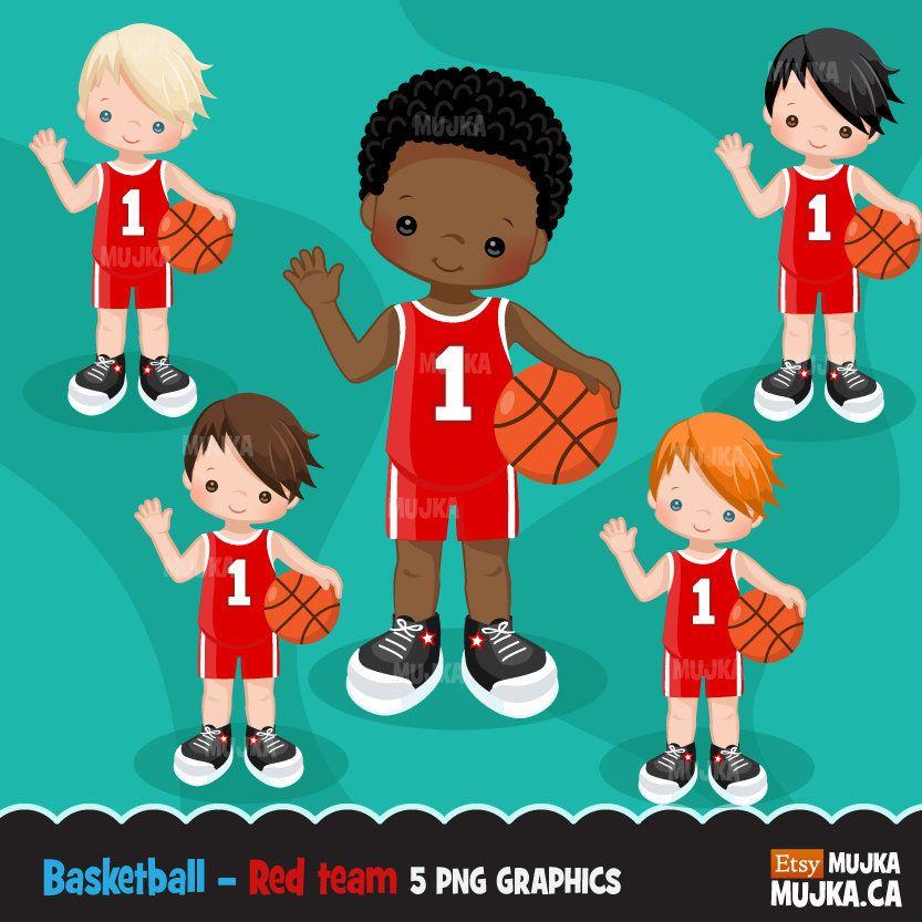 Children Playing Basketball Clipart