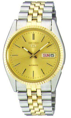 6588a5018 Seiko Men's SNXJ92 Seiko 5 Automatic Gold Dial Two-Tone Stainless-Steel Watch  Seiko