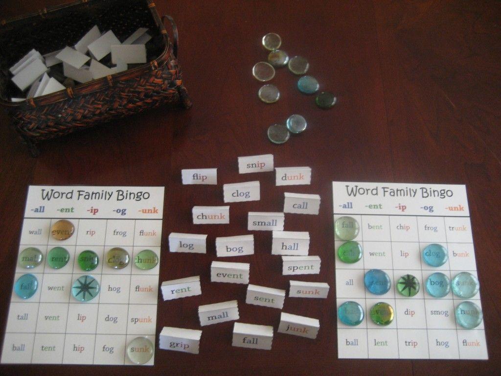 word family bingo game free printable from preschool universe