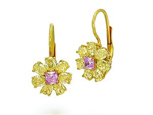 Goldstein Diamonds ~ 18k yellow gold motif earrings with fancy yellow diamonds and pink diamond center stones.