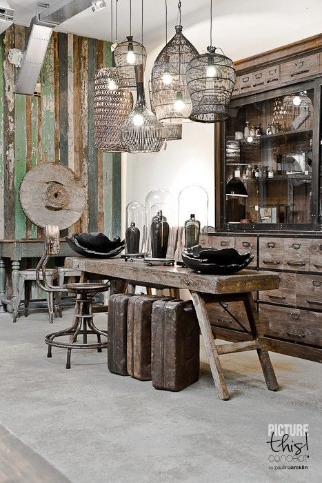 Reclaimed Wood Wall   Paulina Arcklin: Photos For Raw Material Store ~  Industrial Lighting