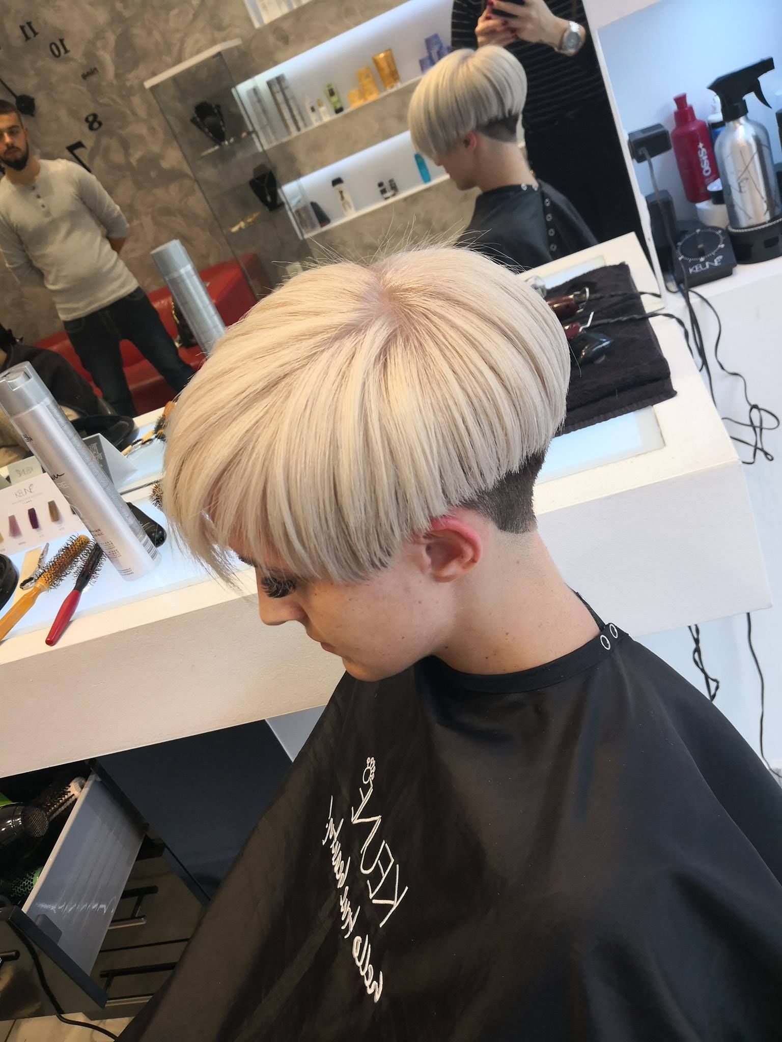 With his hair blonded, coupled with a clipper cut nape. False lashes  applied and make up done, James felt so sissy and gay