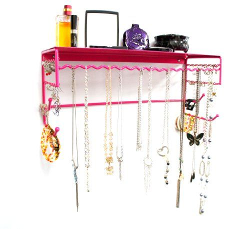 Pink 17 Wall Mount Jewelry Accessory Storage Rack Organizer Shelf