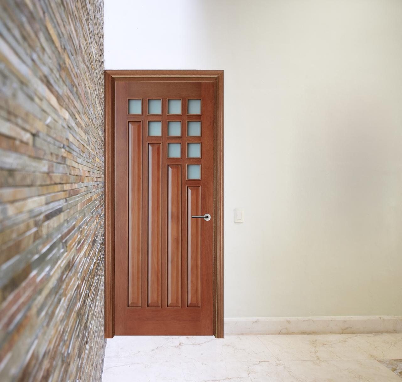 Puerta de madera natural 213 x 91 cm montealban las for Puertas principales modernas de madera