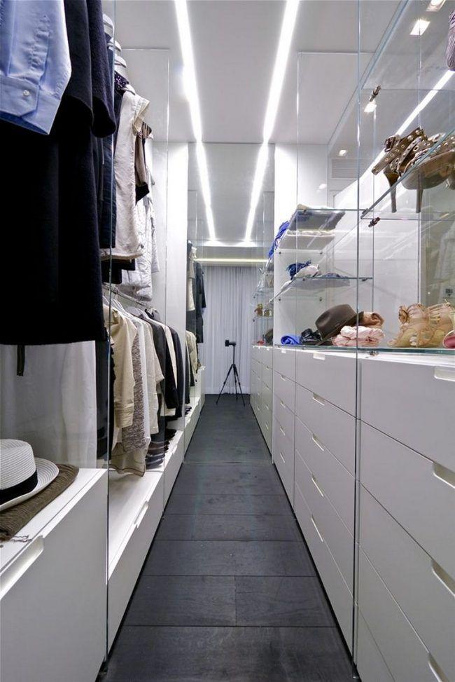 Schrankfronten Begehbaren Kleiderschrank Glasregale Beleuchtung Weisse