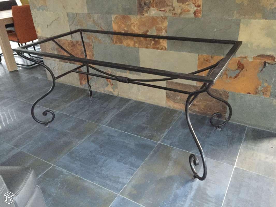 Table sejour ou salon de jardin fer forge et chene | Mesas de ...