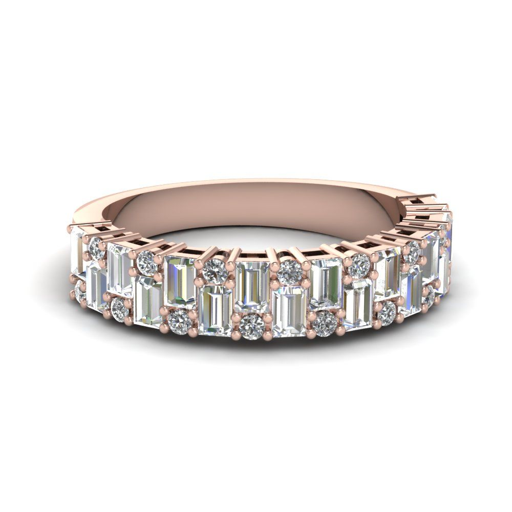 vintage baguette wedding band | white diamonds, diamond and rose