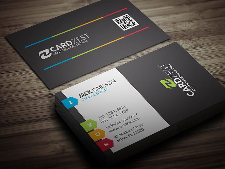 A Clean And Modern Design With Splashes Of Colorful Touches All - Personal business cards templates free