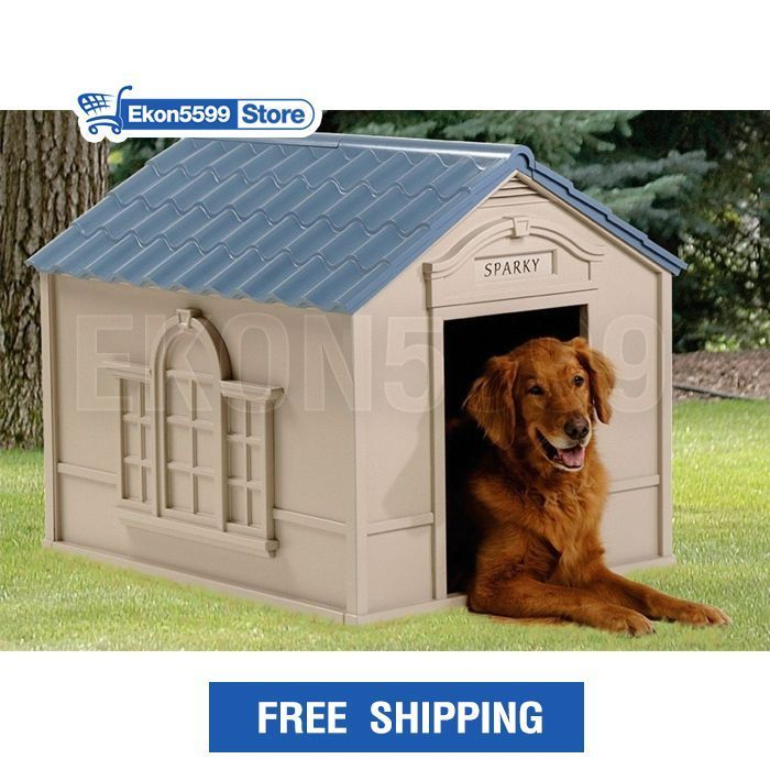 Dog Houses Plastic Outdoor Animal Pet House Weather Durable All