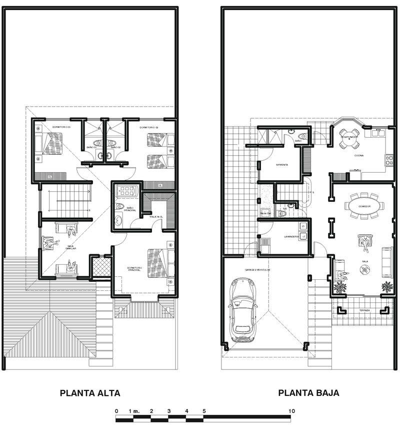 Plano De Casa Colonial Moderna En Dos Plantas Planos Arquitectonicos De Casas Casas Coloniales Casas De Dos Pisos