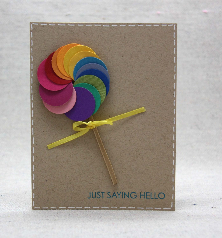 Lollipop Card Colorful Rainbow Blank Card 300 Via Etsy