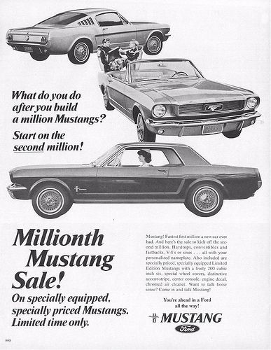 1965 Ford Mustang Special 1 Millionth Mustang Sale Ad Usa
