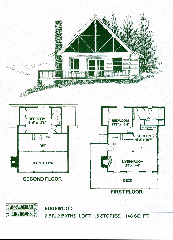 Edgewood 2 Bed 2 Bath 1 5 Stories 1148 Sq Ft Appalachian Log Timber Homes Hybrid Home Floor P Log Cabin Floor Plans Log Cabin Plans Loft Floor Plans