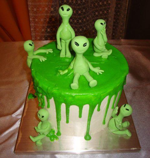 Superb Aliens In Slime Cake Tcc106 With Images Alien Cake Alien Funny Birthday Cards Online Elaedamsfinfo