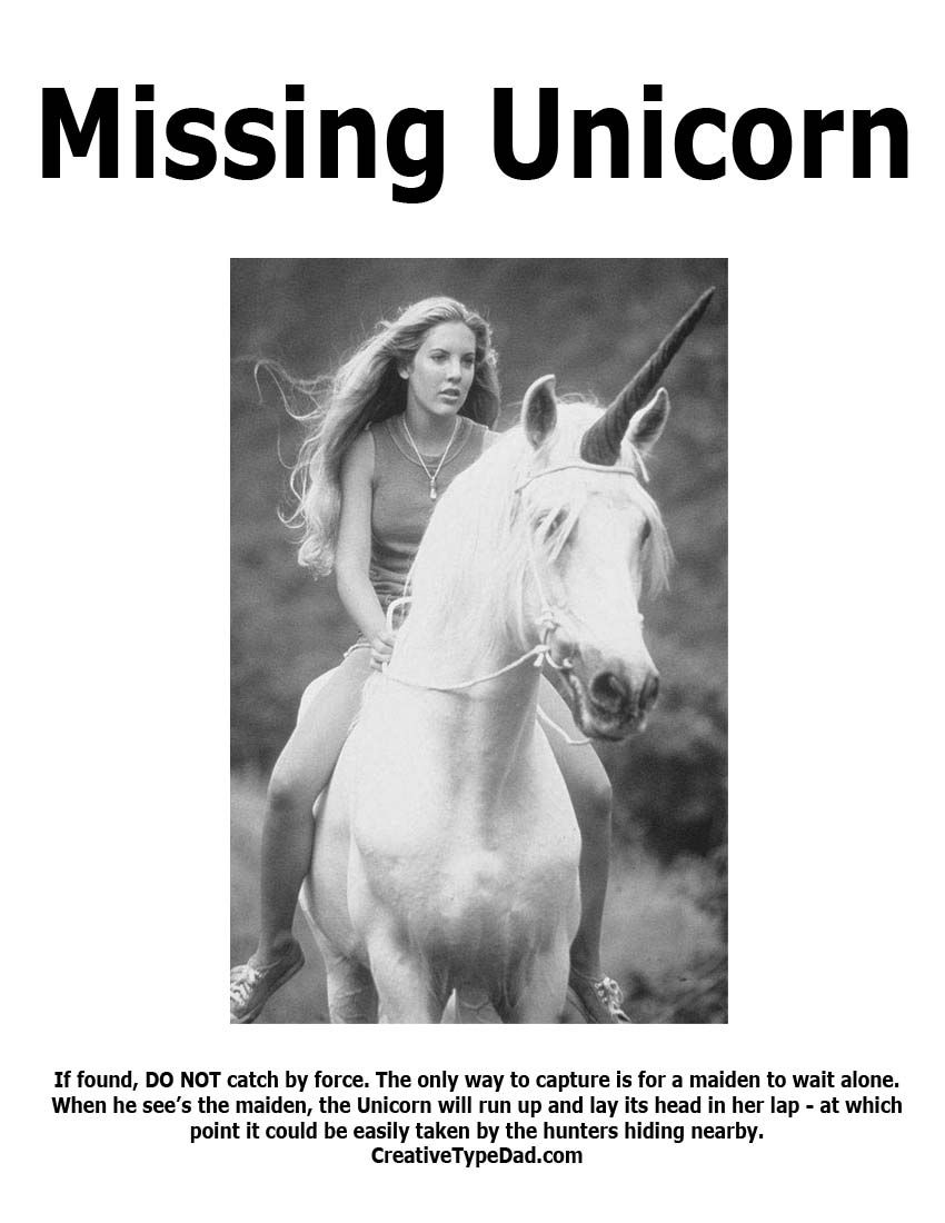 the last unicorn posters | MISSING: My Daughter's 2 Imaginary Friends!