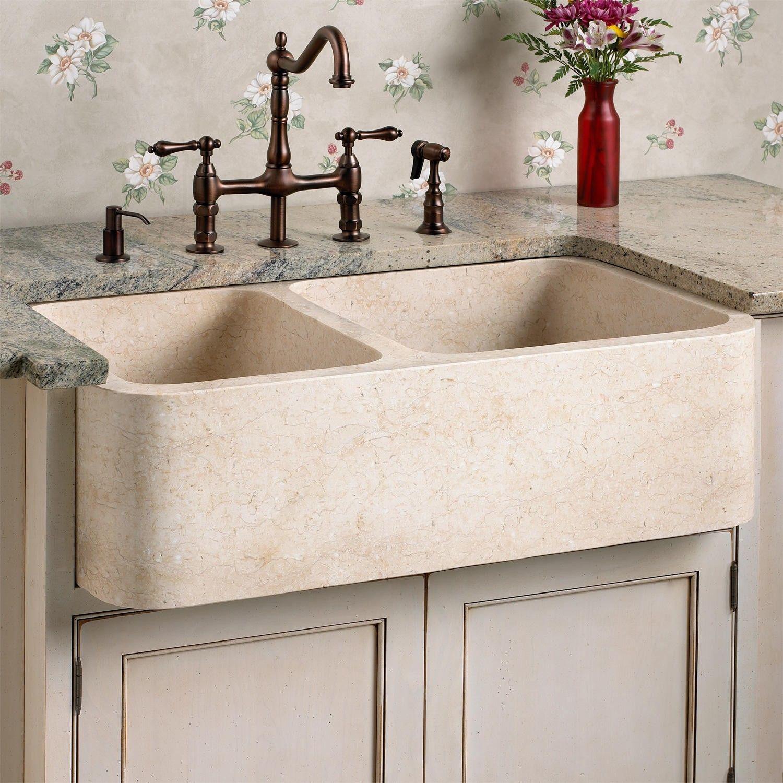 Polished Marble 70 30 Offset Double Bowl Farmhouse Sink Farmhouse Sink Kitchen Farmhouse Sink Stone Sink Kitchen