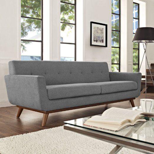 Amazon Com Lexmod Engage Upholstered Sofa Expectation Gray