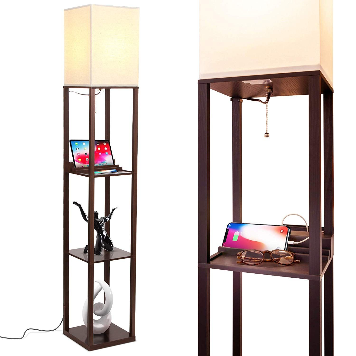 Brightech Maxwell Charging Edition LED Shelf Floor Lamp