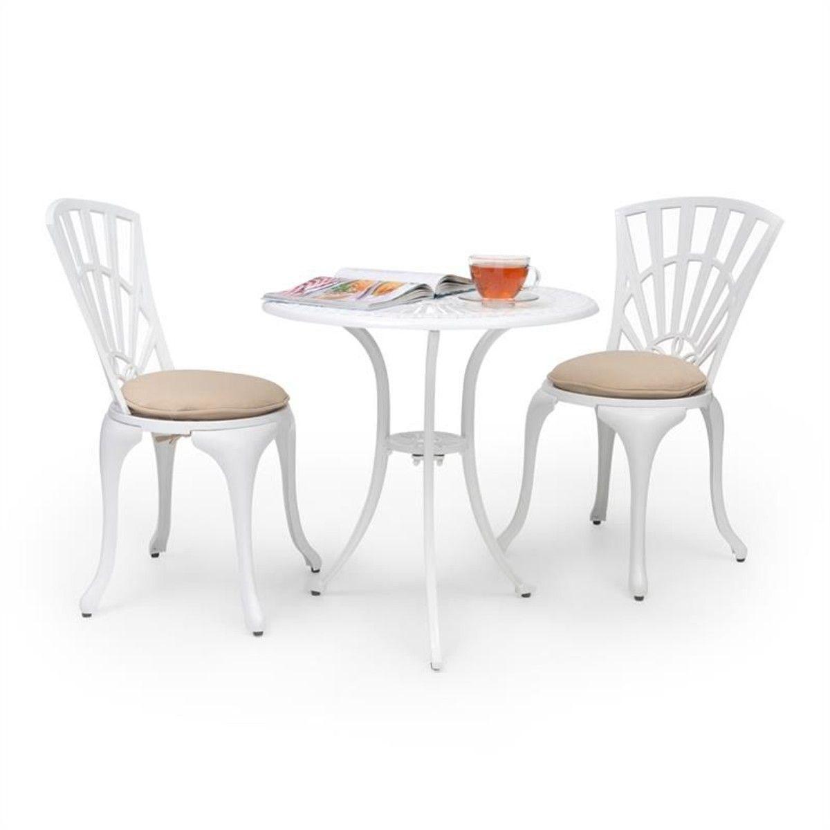 Valletta Set Bistrot Table 2 Chaises & Coussins Alu Moulé ...
