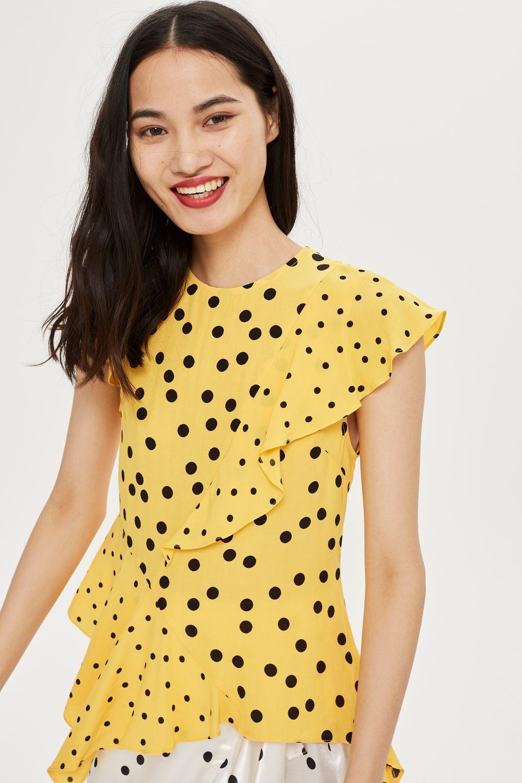 58897bdbdf24ac Mixed Spot Print Asymmetric Blouse - Shirts & Blouses - Clothing -  Topshop Frill Blouse