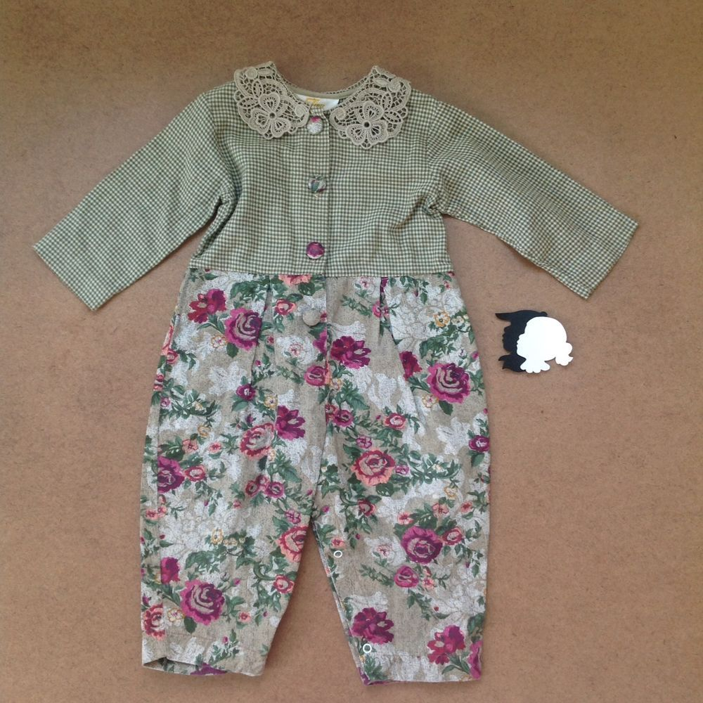 5610aff9d6a9 TINY TOTS Vintage Floral Romper 18m Gingham Lace Collar Long Sleeve ...