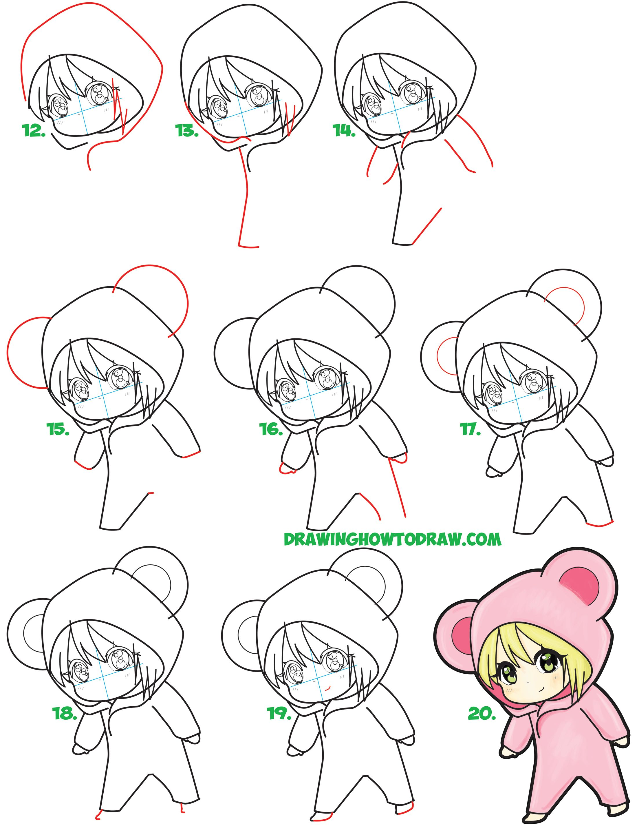 Learn how to draw a cute chibi girl dressed in a hooded bear onesie costume with easy steps drawing lesson for kids
