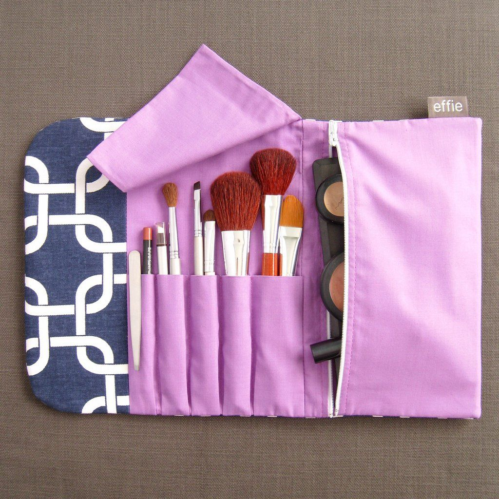 AllinOne Brush Roll & Makeup Bag Navy with Purple