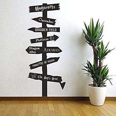 harry potter inspiriert road sign vinyl wand aufkleber hogwarts ministry of magic askaban. Black Bedroom Furniture Sets. Home Design Ideas
