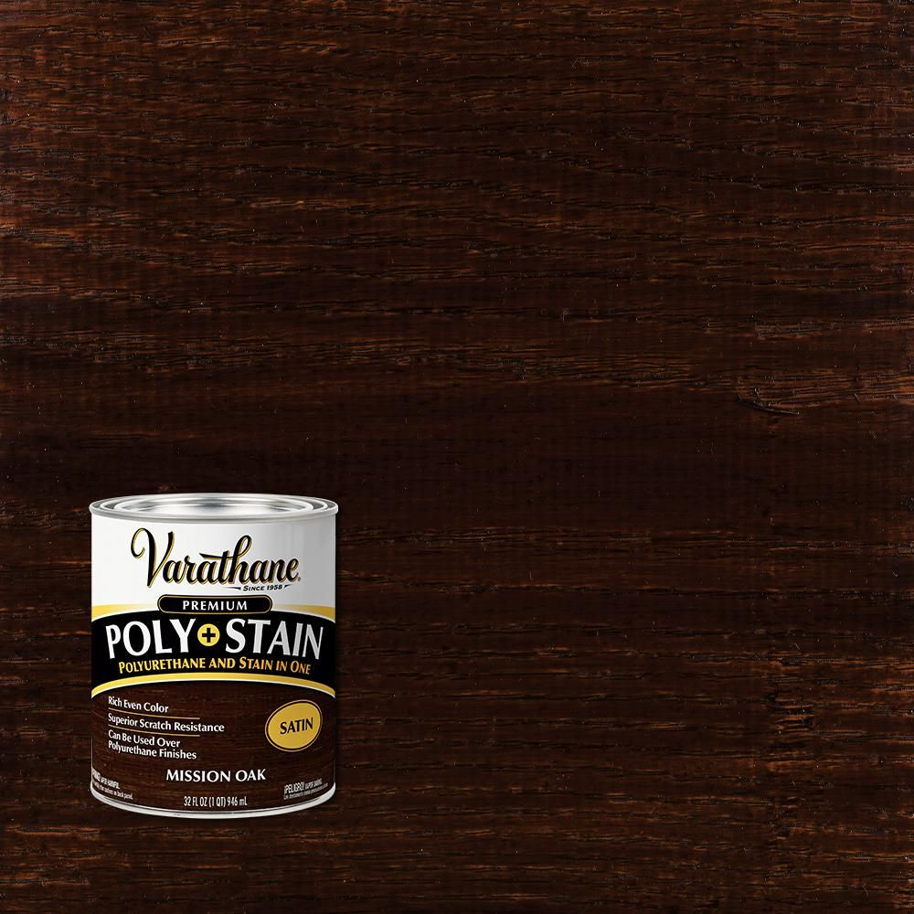 Varathane 1 Qt Mission Oak Satin Water Based Interior Polyurethane And Stain 2 Pack In 2020 Mission Oak Interior Wood Stain Varathane Stain